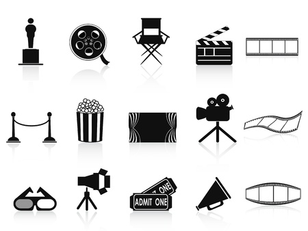 isolated black movies icons set from white background
