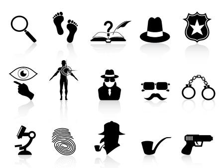 isolated black detective icons set on white background