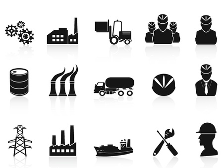 Illustration pour isolated black industry icons set on white background - image libre de droit