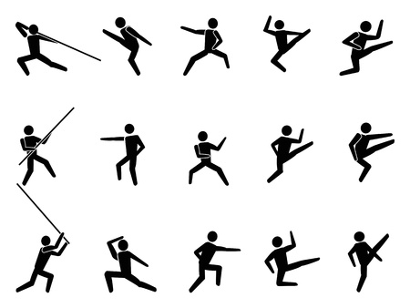 isolated martial arts symbol people icons from white background