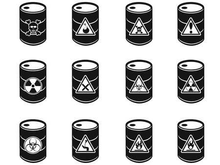 isolated Toxic hazardous waste barrels icon on white background