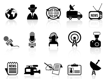 isolated news reporter icons set from white background