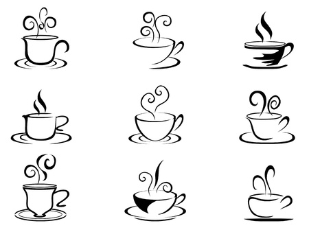 Illustration pour isolated coffee cup shapes from white background - image libre de droit