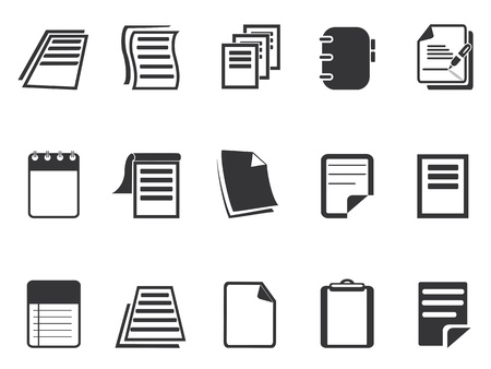 isolated Document paper icons set from white background