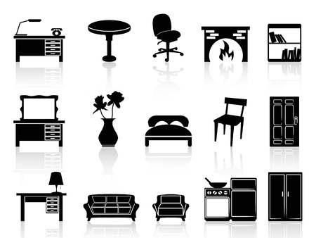 isolated black simple furniture icon from white background