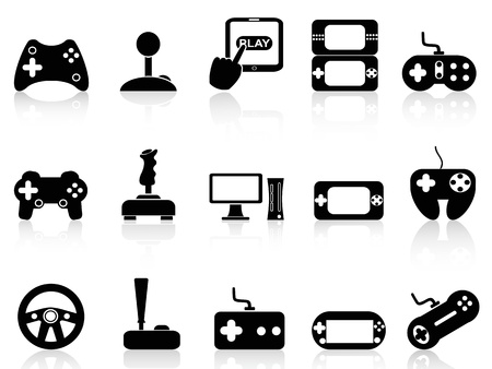 isolated black video game and joystick icons set on white background