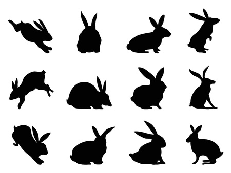 Illustration pour isolated black rabbit silhouettes from white background  - image libre de droit