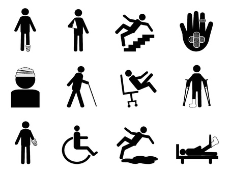 isolated Injury icons set from white background