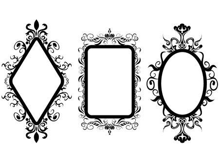 isolated 3 different shpes of vintage frame mirror on white background