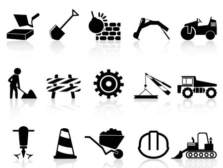 isolated heavy construction icons set from white background