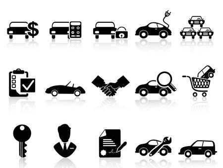 isolated black car dealership icons set from white background