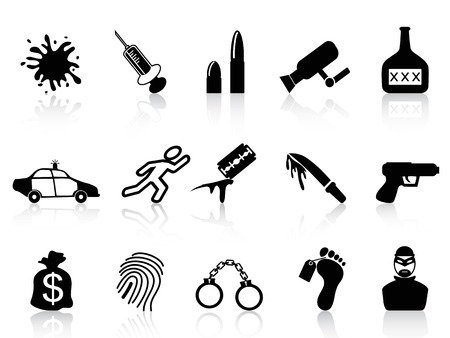 isolated black crime icons set from white background