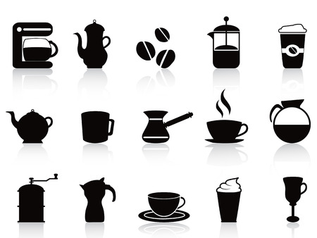 isolated black coffee icons set from white background