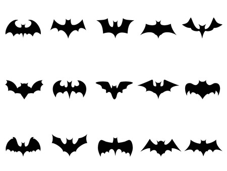 isolated bat icons from white background