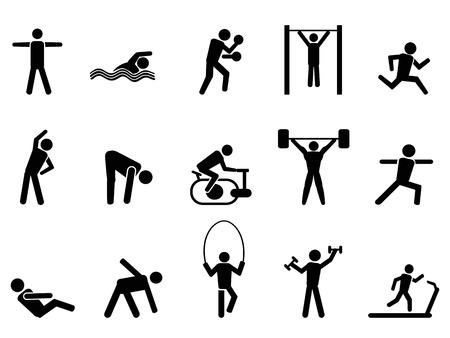 Foto de isolated black fitness people icons set from white background - Imagen libre de derechos