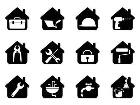 isolated black house with tools icon from white background