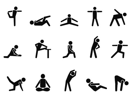 Illustration for isolated black exercise stretching icons from white background - Royalty Free Image