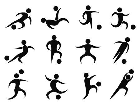 Ilustración de isolated abstract soccer players icons from white background - Imagen libre de derechos
