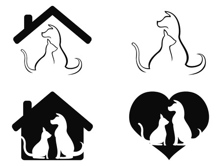 isolated dog and cat pet caring symbol from white backgroundのイラスト素材
