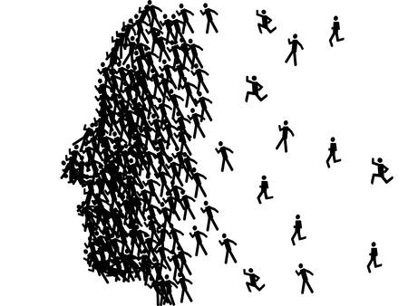 Illustration pour the man face profile shape formed with black stick figures - image libre de droit