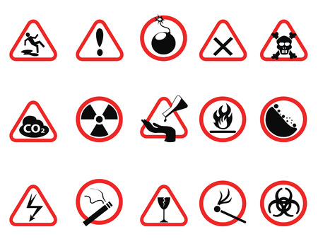 isolated danger icons set, Triangular and circle Warning Hazard Signs from white background