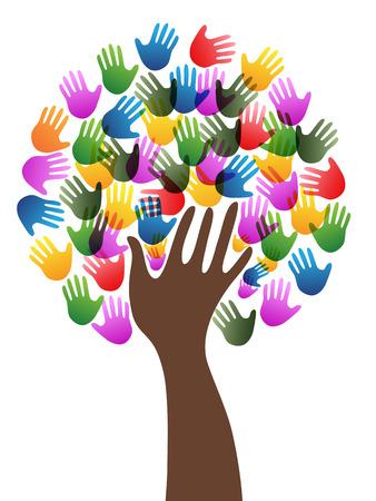 Ilustración de Isolated diversity colorful hands tree background from white background - Imagen libre de derechos
