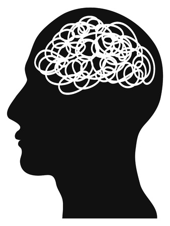 Illustration pour isolated confused head on white background - image libre de droit