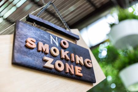 no smoking sign at outdoor zone in restaurant