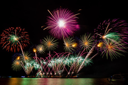 Photo for colorful fireworks from the sea at Pattaya, Thailand - Royalty Free Image