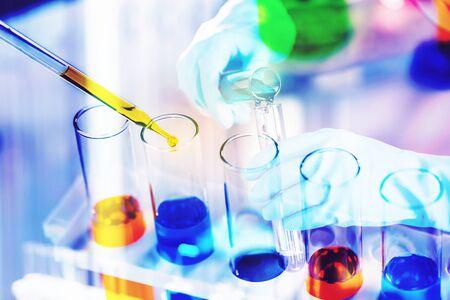 Photo pour laboratory research and development concept with lab glassware - image libre de droit