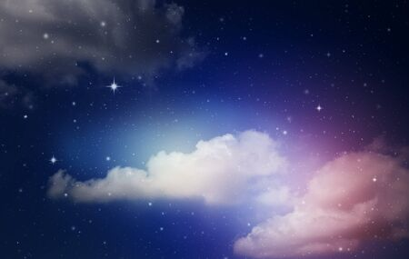 Foto de fantasy colorful night sky with cloud and stars - Imagen libre de derechos
