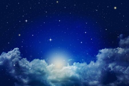 Photo pour colorful fantasy night cloudy sky with stars - image libre de droit