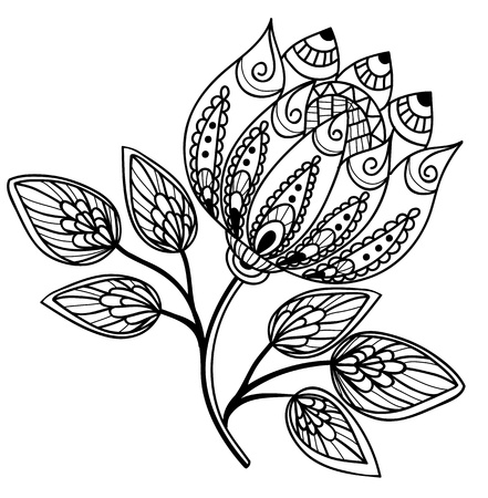 Beautiful Black And White Flower Hand Drawing