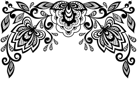 Illustration pour Black and white lace flowers and leaves isolated on white - image libre de droit