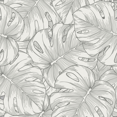 Monstera Leaf Line Pattern