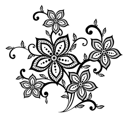 beautiful black and white floral pattern design element. Many similarities to the author's profile