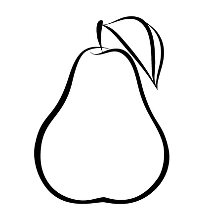 monochrome illustration of pear .  Many similarities to the author's profile