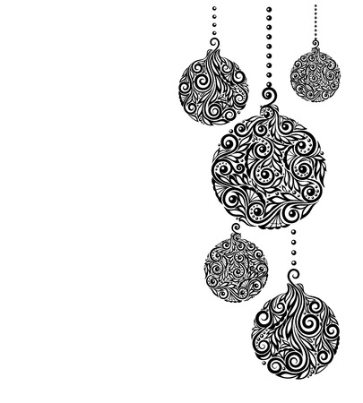 Illustration pour beautiful monochrome Black and White Christmas background with Christmas balls Hanging . Great for greeting cards - image libre de droit