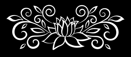 Illustration pour beautiful monochrome black and white flowers and leaves isolated. Floral design for greeting card and invitation of wedding, birthday, Valentine's Day, mother's day and seasonal holiday - image libre de droit