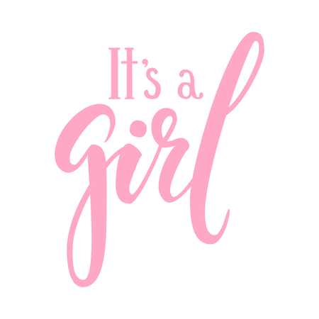 Illustration for It s a girl. Hand drawn calligraphy and brush pen lettering. design for holiday greeting card and invitation of baby shower, birthday, party invitation. - Royalty Free Image