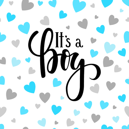 Illustration pour It s a boy. Hand drawn calligraphy and brush pen lettering on white background with blue and silver hearts. design for holiday greeting card and invitation of baby shower, birthday, party invitation - image libre de droit