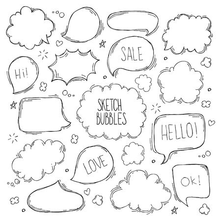 Ilustración de Set of hand drawn sketch Speach bubbles. Vector illustration - Imagen libre de derechos