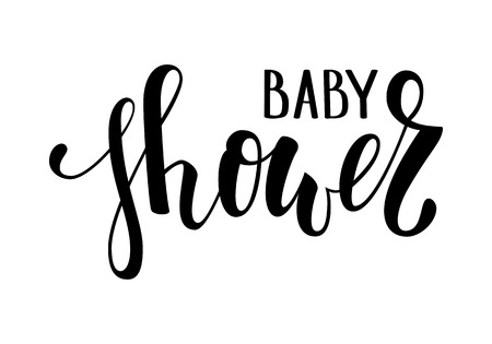 Illustration pour Baby shower. Hand drawn calligraphy and brush pen lettering. design for holiday greeting card and invitation of baby shower, birthday, party invitation. - image libre de droit