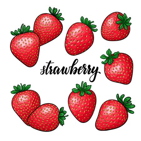 Illustration pour set of Beautiful cartoon red strawberry, lettering text strawberry. symbol of summer. design for holiday greeting card and invitation of seasonal summer holidays, beach parties, tourism and travel - image libre de droit