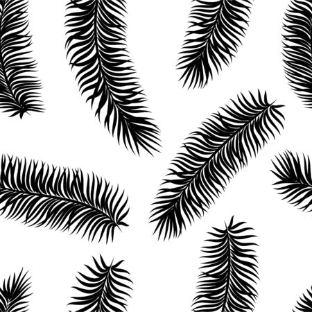 Illustration pour Black and white tropical leaves seamless pattern. design for holiday greeting card and invitation of seasonal summer holidays, summer beach parties, tourism and travel - image libre de droit