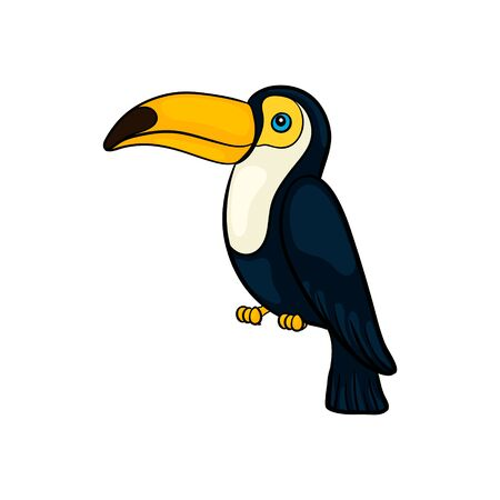 Illustration pour Hand drawn cute cartoon toucan seating, colorful sketch style vector illustration isolated on white background. Hand drawing tucan cute summer symbol. - image libre de droit