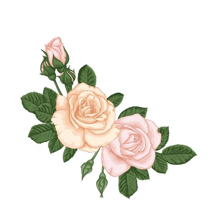 Vektor für beautiful bouquet with pastel pink roses buds and leaves. Floral arrangement. design greeting card and invitation of the wedding, birthday, Valentine's Day, mother's day and other holiday. - Lizenzfreies Bild