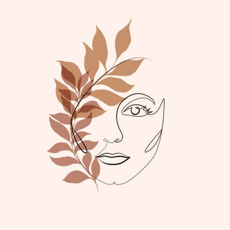 Illustration for Abstract minimalistic linear sketch. Female face. Vector illustration hand draw with plant leaves. One line drawing face. Modern minimalism art. Abstract woman portrait minimalist style. - Royalty Free Image