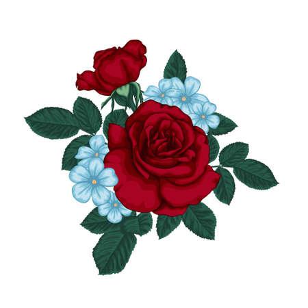 Illustration pour beautiful bouquet with red roses and leaves. Floral arrangement. - image libre de droit