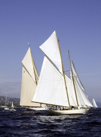 Classic sailing yacht passing